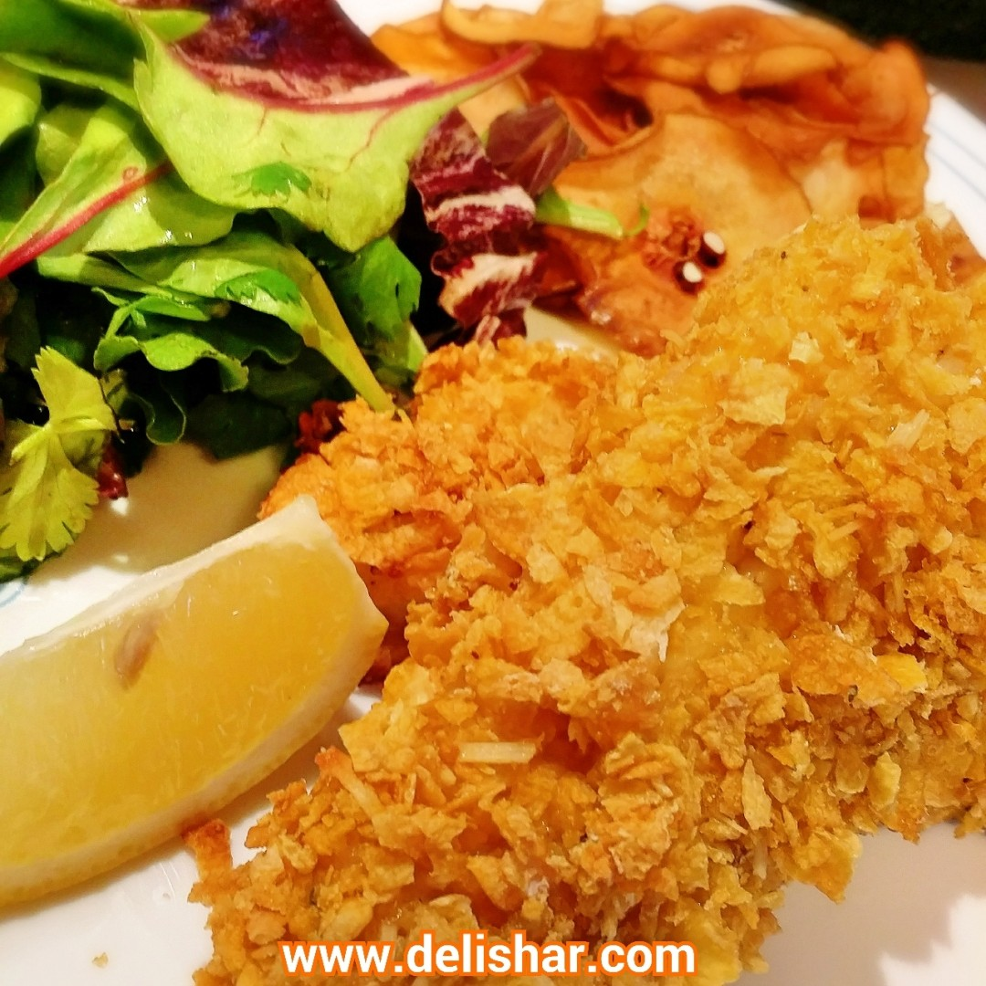 Crispy cornflake baked fish delishar singapore cooking for What side dishes go with fish
