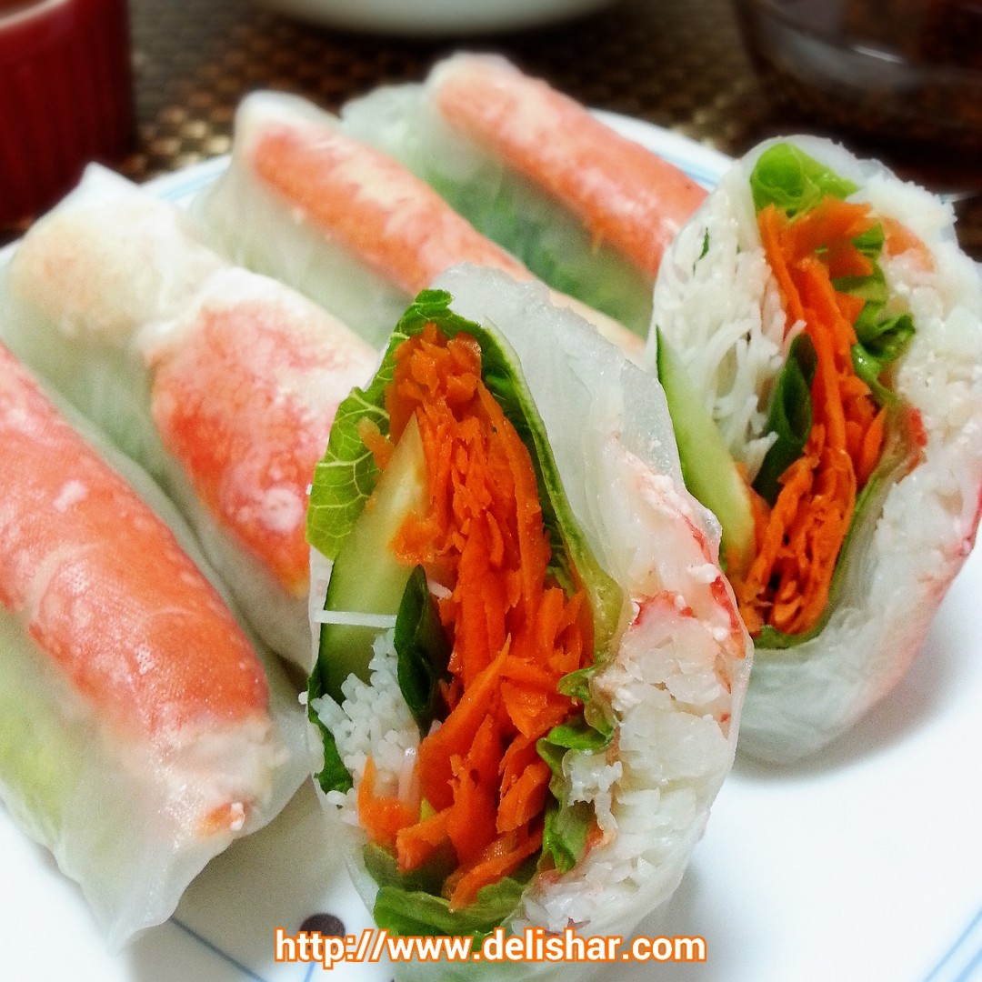 Snow Crab Rice Paper Roll with Peanut Dipping Sauce ...