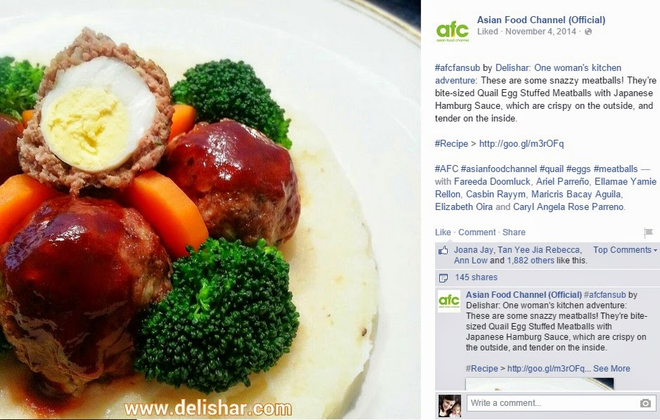 Media pr delishar singapore cooking recipe and food blog asian food channel on 4 nov 2014 featured quail egg stuffed meatballs with japanese hamburg sauce forumfinder Image collections