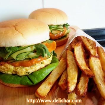 Satay Chicken Burger With Spicy Peanut Sauce Delishar