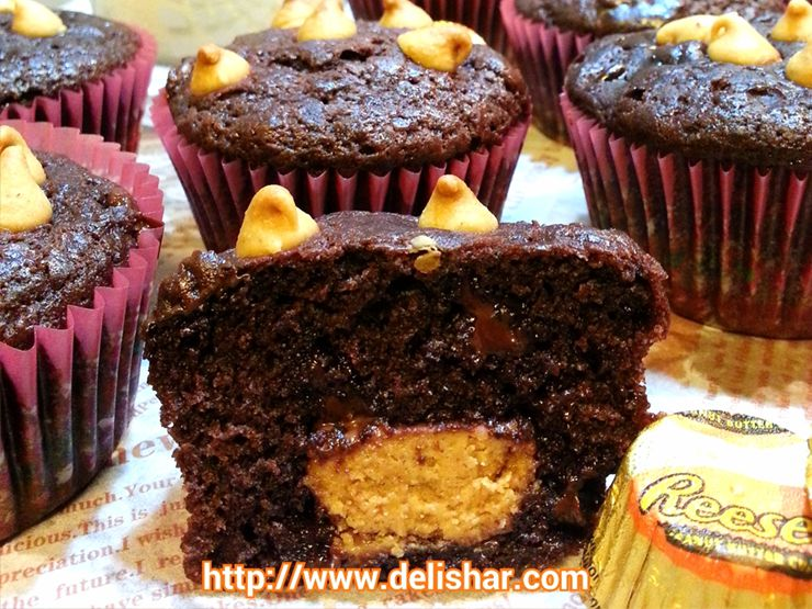 Reese S Peanut Butter Cup Stuffed Chocolate Muffins