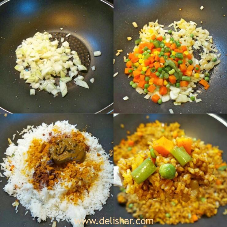 Curry Fried Rice Process