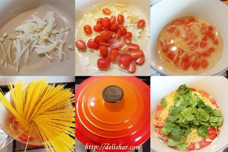 Tomato Spinach Pasta Process