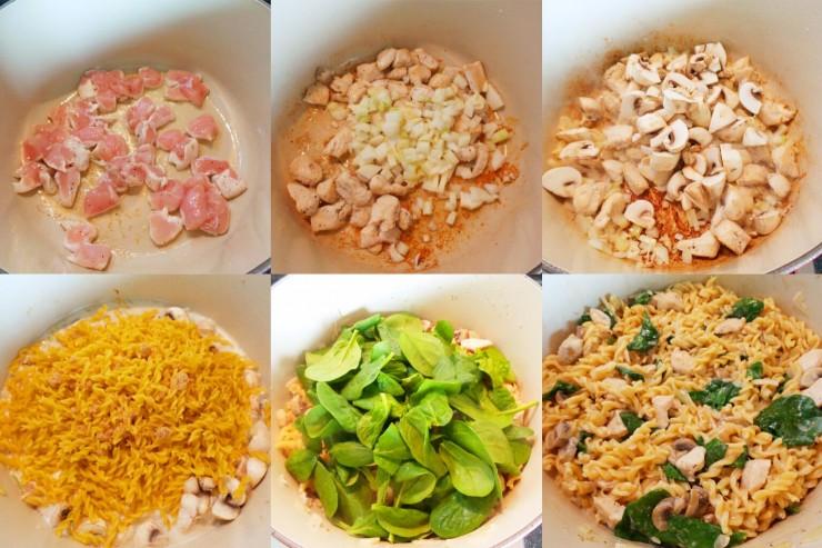 Chicken Mushroom One Pot Pasta Process