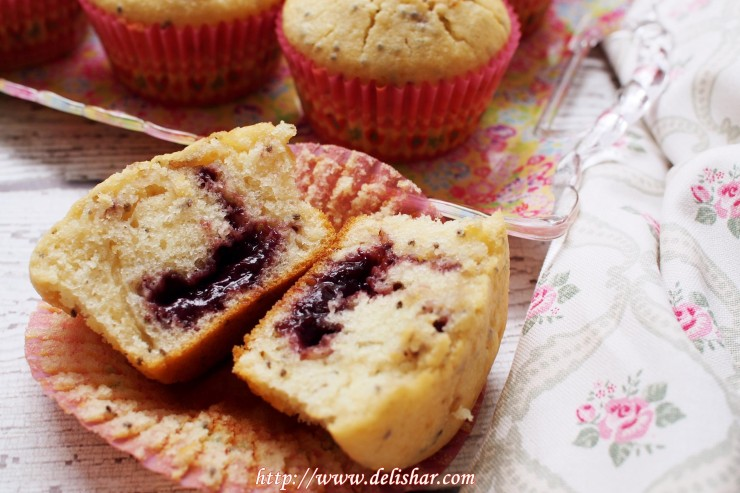 Jam Filled Chia Seed Muffins 6