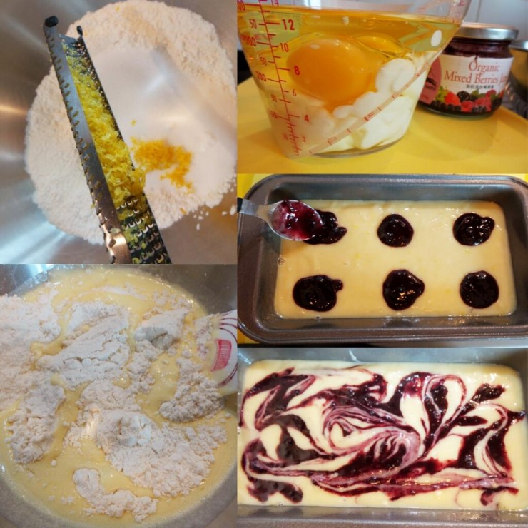Jam swirled french yogurt cake process