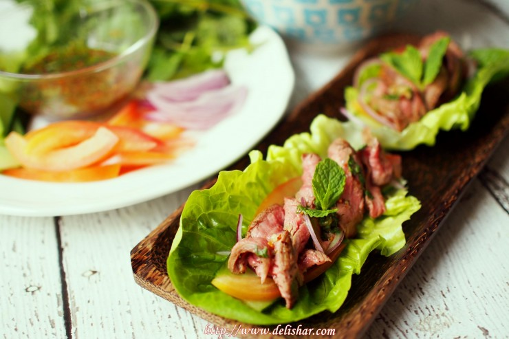 Thai beef salad wrap 1