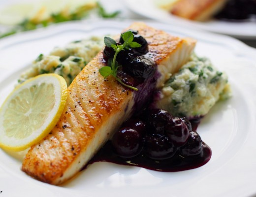 Halibut with blueberry sauce 0