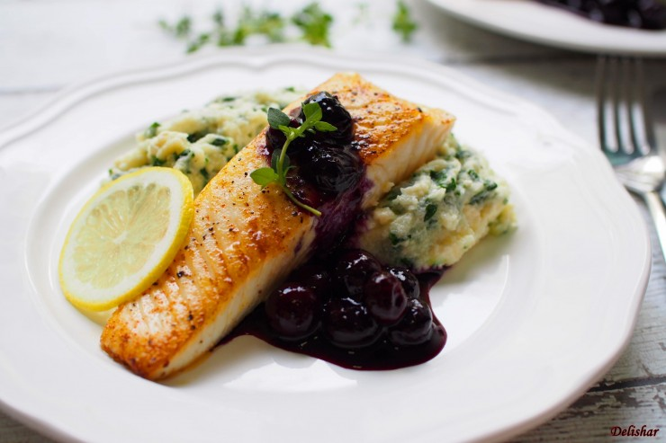 Halibut with blueberry sauce 6