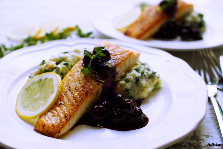Halibut with blueberry sauce 9