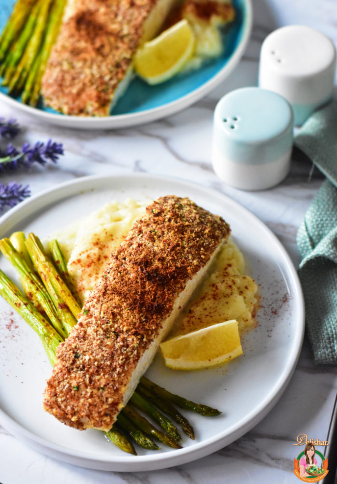 Almond Crusted Halibut with Cauliflower Mash | Delishar ...